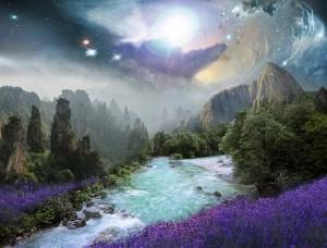 fantazijný obrázok krajiny s tečúcou riekou