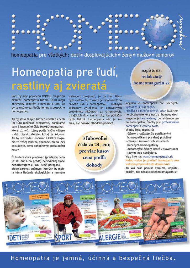 3 čísla za 24eur homeomagazín